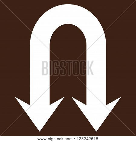 Double Back Arrow vector icon. Image style is flat double back arrow pictogram symbol drawn with white color on a brown background.