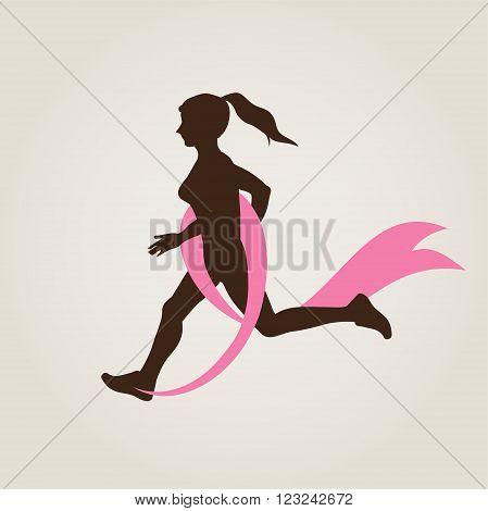 Sport Woman Running Pink Ribbon Breast Cancer Awareness Jogging Female Flat Vector Illustration
