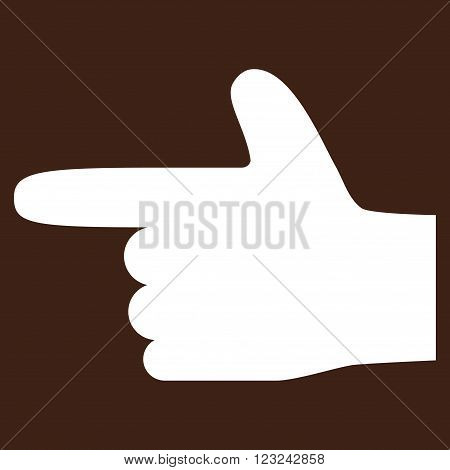 Hand Pointer Left vector icon. Image style is flat hand pointer left pictogram symbol drawn with white color on a brown background.