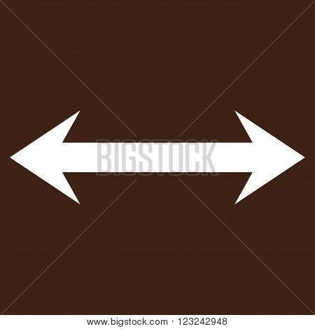 Horizontal Flip vector icon. Image style is flat horizontal flip pictogram symbol drawn with white color on a brown background.