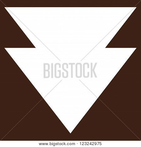 Move Down vector icon. Image style is flat move down pictogram symbol drawn with white color on a brown background.