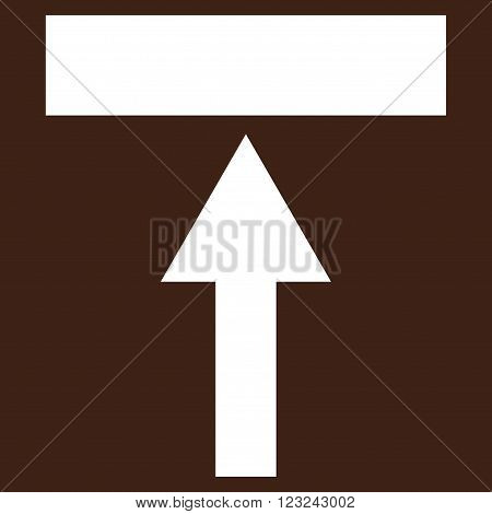 Move Top vector icon. Image style is flat move top pictogram symbol drawn with white color on a brown background.