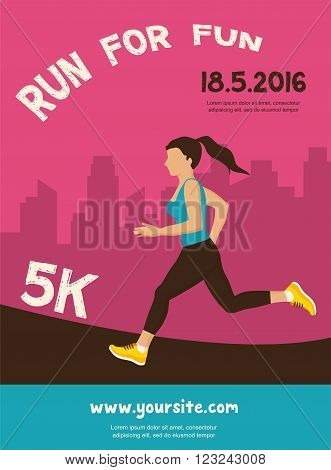 woman running, jogging  - colorful illustration. colorful poster design