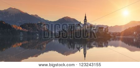 Slovenia. Morning at Lake Bled. The small alpine town of Bled with a beautiful island in the middle of the lake.