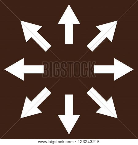 Radial Arrows vector icon. Image style is flat radial arrows pictogram symbol drawn with white color on a brown background.