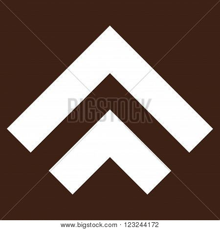 Shift Up vector icon. Image style is flat shift up pictogram symbol drawn with white color on a brown background.