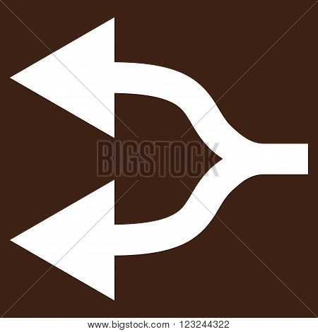 Split Arrows Left vector icon. Image style is flat split arrows left pictogram symbol drawn with white color on a brown background.