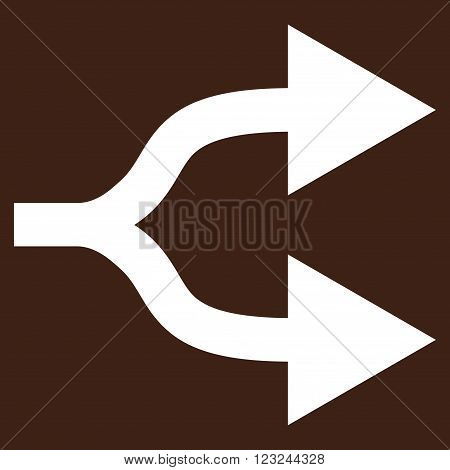 Split Arrows Right vector icon. Image style is flat split arrows right pictogram symbol drawn with white color on a brown background.