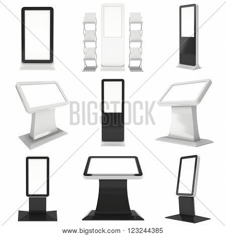LCD Kiosk Stand. LCD Kiosk 3d. LCD Kiosk JPEG. LCD Kiosk Object. LCD Kiosk Picture. LCD Kiosk Image. LCD Kiosk Expo. LCD Kiosk Art. LCD Kiosk JPG. LCD Kiosk Render. Trade Show Booth Set isolated on white