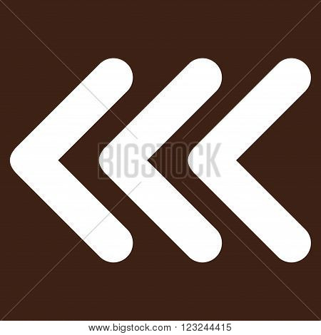 Triple Arrowhead Left vector icon. Image style is flat triple arrowhead left pictogram symbol drawn with white color on a brown background.