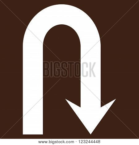Turn Back vector icon. Image style is flat turn back pictogram symbol drawn with white color on a brown background.