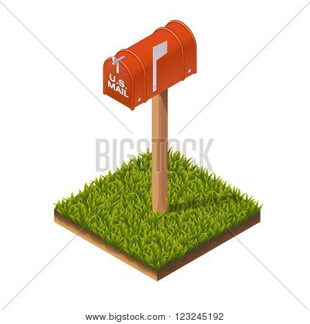 Isometric Illustration of Mail Box for Web, Mobile, Print or GUI