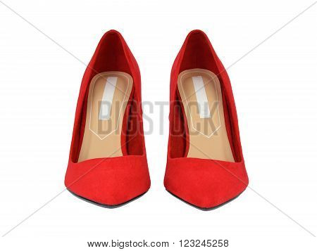 Close-up of a pair of elegant red suede high-heeled shoes isolated