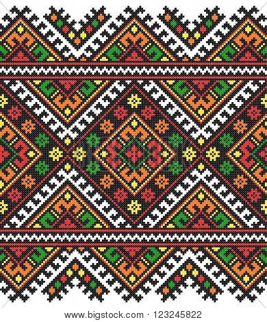colored embroidered good like old handmade cross-stitch ethnic Ukraine pattern. Ukrainian towel with ornament, rushnyk called, in vector