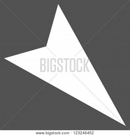 Arrowhead Right-Down vector icon. Image style is flat arrowhead right-down pictogram symbol drawn with white color on a gray background.