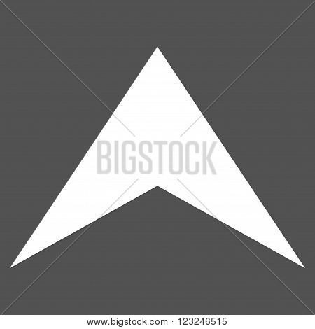 Arrowhead Up vector icon. Image style is flat arrowhead up pictogram symbol drawn with white color on a gray background.