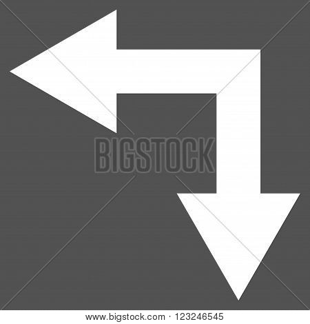 Bifurcation Arrow Left Down vector icon. Image style is flat bifurcation arrow left down pictogram symbol drawn with white color on a gray background.