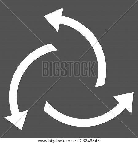 Centrifugal Arrows vector icon. Image style is flat centrifugal arrows pictogram symbol drawn with white color on a gray background.