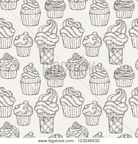 Vector Muffins Seamless Pattern. Cakes, Sweets. Candy wrappers, cups and cream.