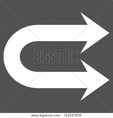 Double Right Arrow vector icon. Image style is flat double right arrow pictogram symbol drawn with white color on a gray background.