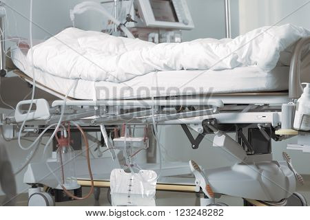 Patient bed in the intensive care ward