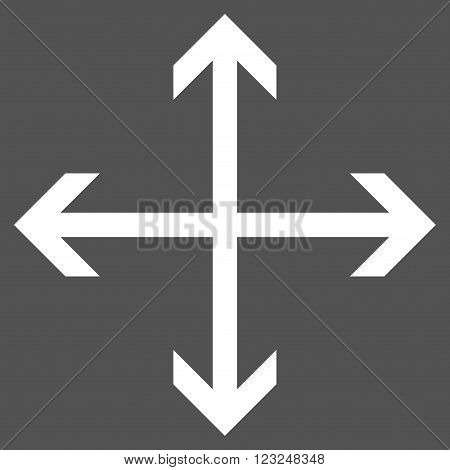 Expand Arrows vector icon. Image style is flat expand arrows pictogram symbol drawn with white color on a gray background.
