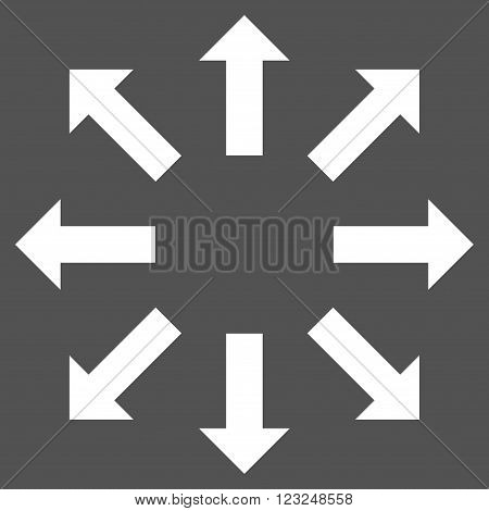 Explode Arrows vector icon. Image style is flat explode arrows pictogram symbol drawn with white color on a gray background.