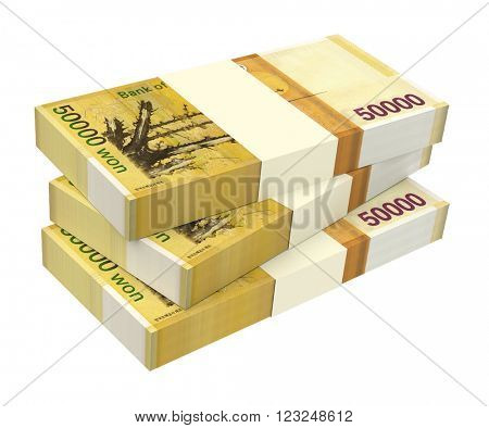 Korean won bills isolated on white background. Computer generated 3D photo rendering.
