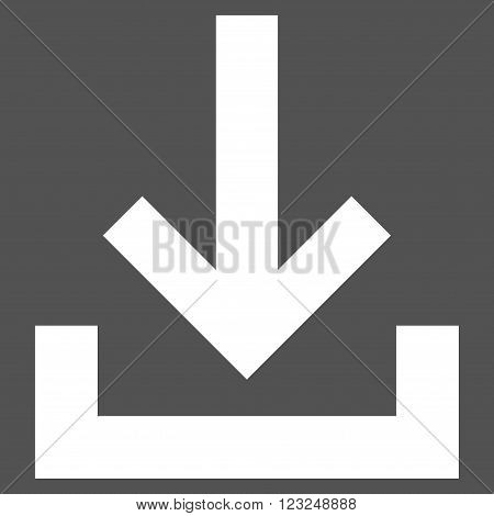 Inbox vector icon. Image style is flat inbox pictogram symbol drawn with white color on a gray background.