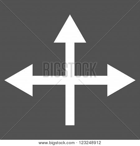 Intersection Directions vector icon. Image style is flat intersection directions pictogram symbol drawn with white color on a gray background.