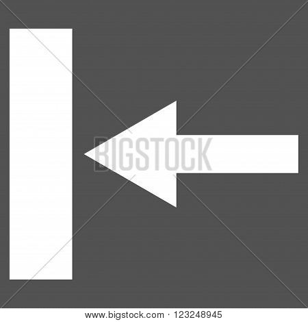 Move Left vector icon. Image style is flat move left pictogram symbol drawn with white color on a gray background.