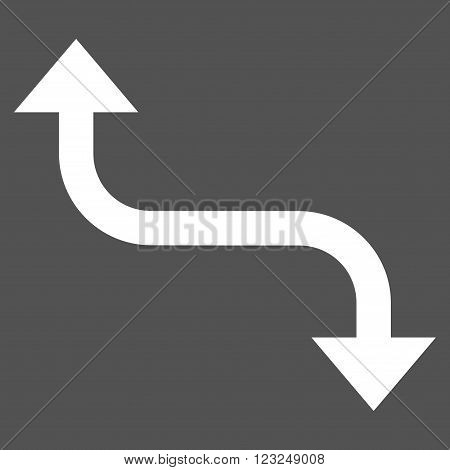 Opposite Bend Arrow vector icon. Image style is flat opposite bend arrow pictogram symbol drawn with white color on a gray background.
