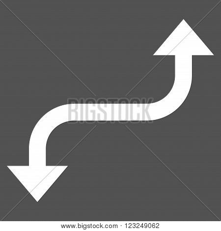 Opposite Curved Arrow vector icon. Image style is flat opposite curved arrow pictogram symbol drawn with white color on a gray background.