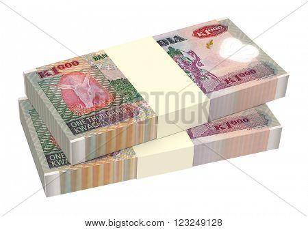 Zambian kwacha bills isolated on white background. Computer generated 3D photo rendering.