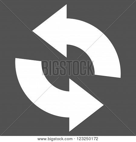 Refresh vector icon. Image style is flat refresh pictogram symbol drawn with white color on a gray background.