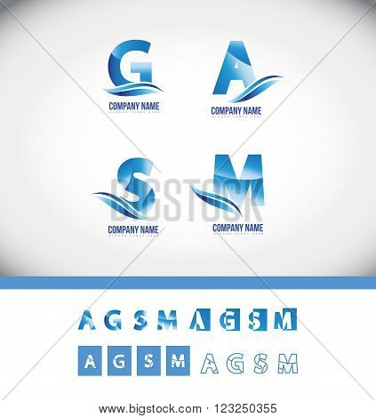 Vector company logo icon element template blue alphabet letter set gradient swoosh