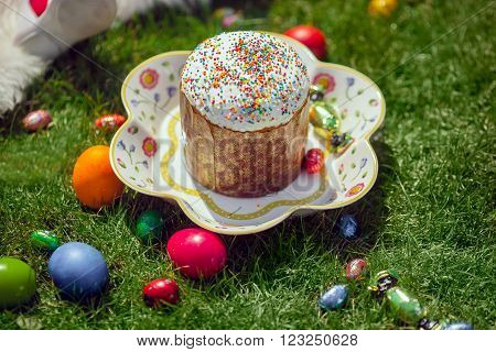 Easter cake and Easter eggs and candies over green grass. Selective shallow focus
