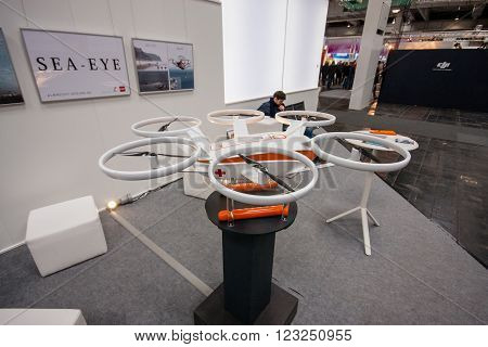 HANNOVER GERMANY - MARCH 15 2016: Drone displayed at CeBIT information technology trade show in Hannover Germany on March 15 2016.