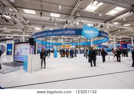 HANNOVER GERMANY - MARCH 15 2016: Booth of Salesforce company at CeBIT information technology trade show in Hannover Germany on March 15 2016.