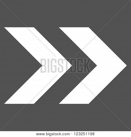 Shift Right vector icon. Image style is flat shift right pictogram symbol drawn with white color on a gray background.