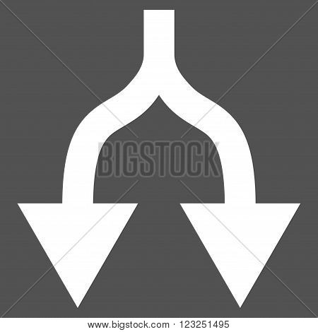 Split Arrows Down vector icon. Image style is flat split arrows down pictogram symbol drawn with white color on a gray background.