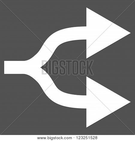 Split Arrows Right vector icon. Image style is flat split arrows right pictogram symbol drawn with white color on a gray background.