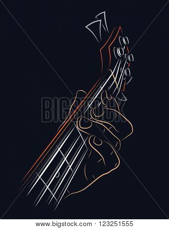 Playing Bass illustration. Pressing string with left hand finger.