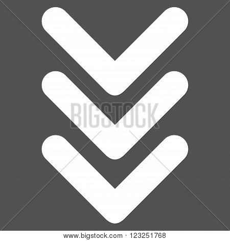 Triple Arrowhead Down vector icon. Image style is flat triple arrowhead down pictogram symbol drawn with white color on a gray background.