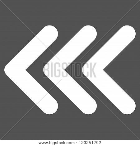 Triple Arrowhead Left vector icon. Image style is flat triple arrowhead left pictogram symbol drawn with white color on a gray background.