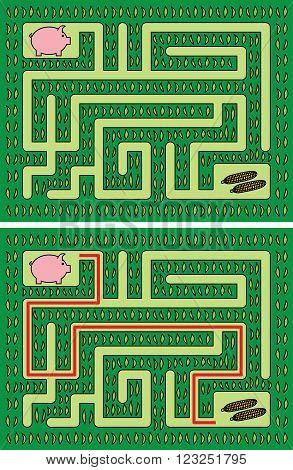 Easy Piglet Maze