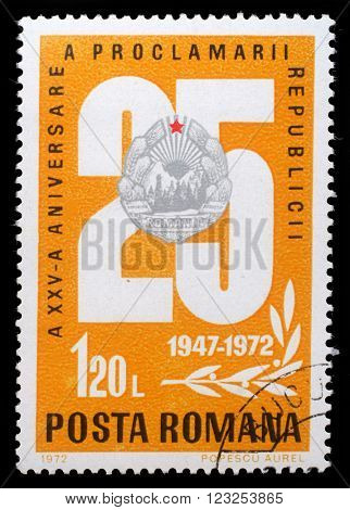 ZAGREB, CROATIA - JULY 19: stamp printed by Romania, shows 25 and national emblem, 25 anniversary of the republic issue, circa 1972, on July 19, 2012, Zagreb, Croatia
