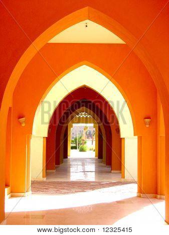 A orange arcade.