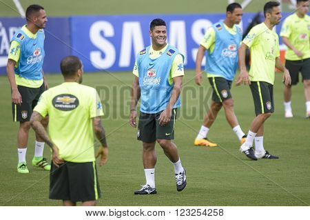 Teresopolis Brasil - March 22 2016: Hulk player training in Comary Granja which is preparing for the games the World Cup round of 2018 against Uruguay and Paraguay.