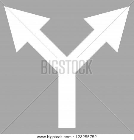 Bifurcation Arrow Up vector icon. Image style is flat bifurcation arrow up pictogram symbol drawn with white color on a silver background.